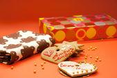 Dva soubory cookie tvar srdce — Stock fotografie