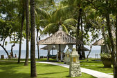 Tropical gazebos with ocean view — Stock fotografie