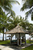 Tropical gazebos with ocean view — Stock Photo