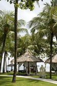 Tropical gazebos with ocean view — Stok fotoğraf