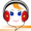 Funny face of the boy with headphones — Stock Vector