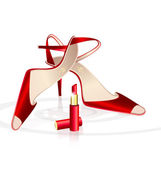 Red woman's shoes with lipstick — Stock Vector