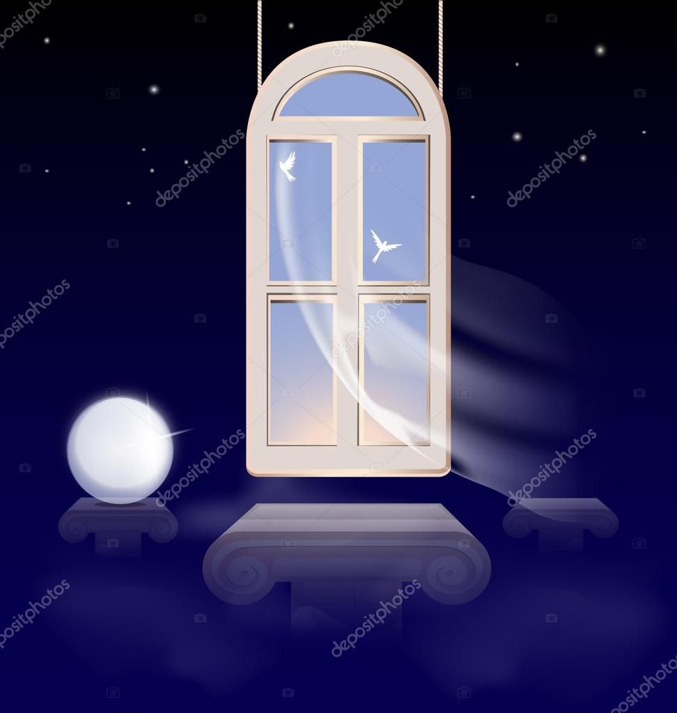在抽象夜晚的天空中挂在早晨的天空中的窗口 — 矢量图片作者 dankal