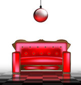 Red sofa — Vector de stock