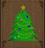 Straw mat Christmas tree — Stock Vector