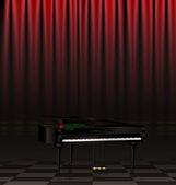 Svart piano och scen — Stockvektor
