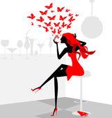 Red girl — Stock Vector