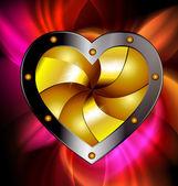 Red-golden heart — Stock Vector