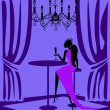 Purple lady in bar — Stock Vector #24004225