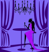 Purple lady in a bar — Stock Vector