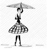 Strange girl in the rain — Stock Vector