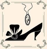 Vintage shoe of dame — Stock vektor