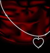 Red silk and jewel heart — Cтоковый вектор