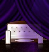 White sofa in the violet room — Stock Vector