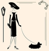 Lady and dog — Stock Vector