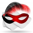 Red-black carnival half-mask and feathers — Stock Vector #42807191