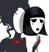 Lady-mirror with black-white mask — Vector de stock