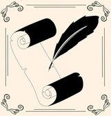 Papier et stylo vintage — Vecteur