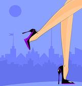 Pieds féminins dans la ville — Vecteur