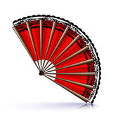 Red fan and black lace — Stock Vector