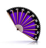 Purple fan with black lace — Vettoriale Stock