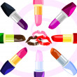 Abstract lips and  lipsticks — Stock Vector #49239211
