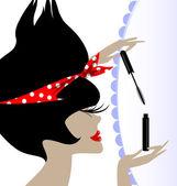 Lady and mascara — Stock Vector