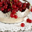 Red currant in the metallic basket — Stock Photo