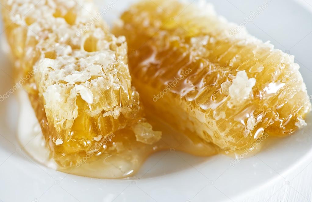 Honey combs with honey on the plate — Foto de Stock   #12248397