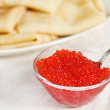 Red caviar and pancakes — Stock Photo