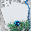 Christmas card with fir branch — Stock fotografie