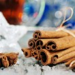 Stock Photo: Cinnamon and stars of anise at christmas time