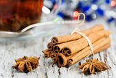 Stars of anise and cinnamon at christmas time — Stock Photo