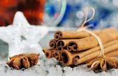 Cinnamon and stars of anise at christmas time — Stock Photo