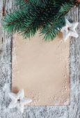 モミの枝とクリスマスのお祝いカード — ストック写真