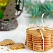 Christmas cookies, lantern with fir branch — Stock Photo