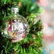 Cristmas ball baubles on fir tree — Stock Photo