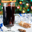 Spiced hot wine - christmas drink — Stock Photo