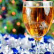 Stock Photo: Glass of wine at Christmas time