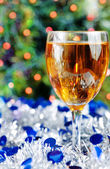 Glass of wine at Christmas time — Stock Photo