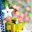 Stock Photo: Christmas present on shiny background