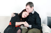 Man comforting her woman — Stock Photo