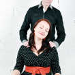 Woman receiving shoulder massage from her man — Stock Photo