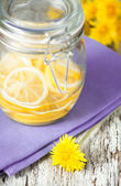 Slices of lemons in the glass jar — Stock Photo