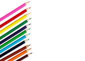 Renkli kalemler üzerinde beyaz izole — Stok fotoğraf