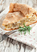 Homemade cake with cabbage and eggs — Stock Photo