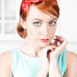 Portrait of stylish beautiful womwith red hair — Stock Photo #29798805
