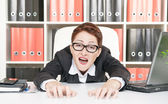 Crazy business woman — Stock Photo