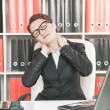 Business woman with pain in her neck — Stock Photo