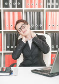 Business woman with pain in her neck — Foto de Stock